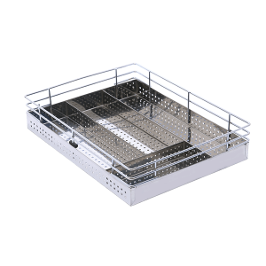 SS PERFORATED CUTLERY BASKET (4″ HEIGHT X 21″ WIDTH X 20″ DEPTH) 6MM WIRE