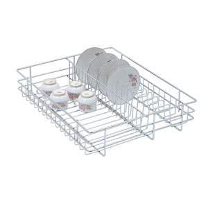 CUP AND SAUCER DRAWER BASKET (4″ HEIGHT X 19″ WIDTH X 20″ DEPTH) 6MM WIRE STAINLESS STEEL